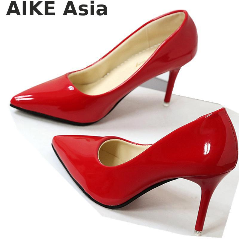 Women Shoes Pumps Pointed-Toe High-Heels Patent Leather HOT Mujer Boat Zapatos 7cm/4cm