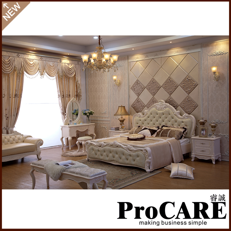 classical light colour bedroom furniture luxury bedroom sets 5pcs in 1set