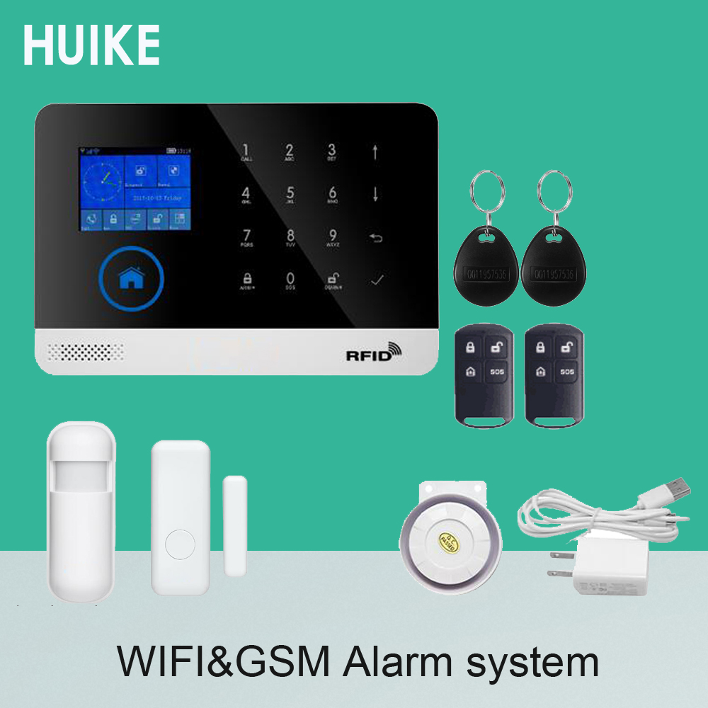 Home Security WIFI GSM SMS Alarm System IP Camera RFID and Cellphone Control Wireless Door open Alarm Smoke Detector