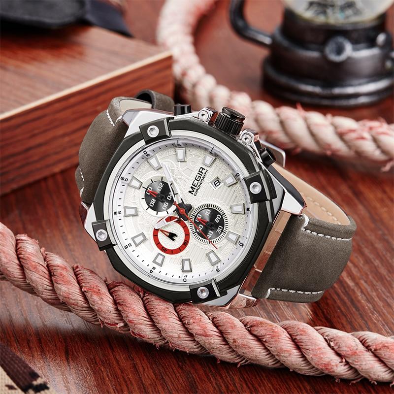MEGIR Mens Montres De Mode Casual Sport Quartz Montre Hommes Chronograp Horloge Homme En Cuir D'affaires montre-Bracelet Relogio Masculino