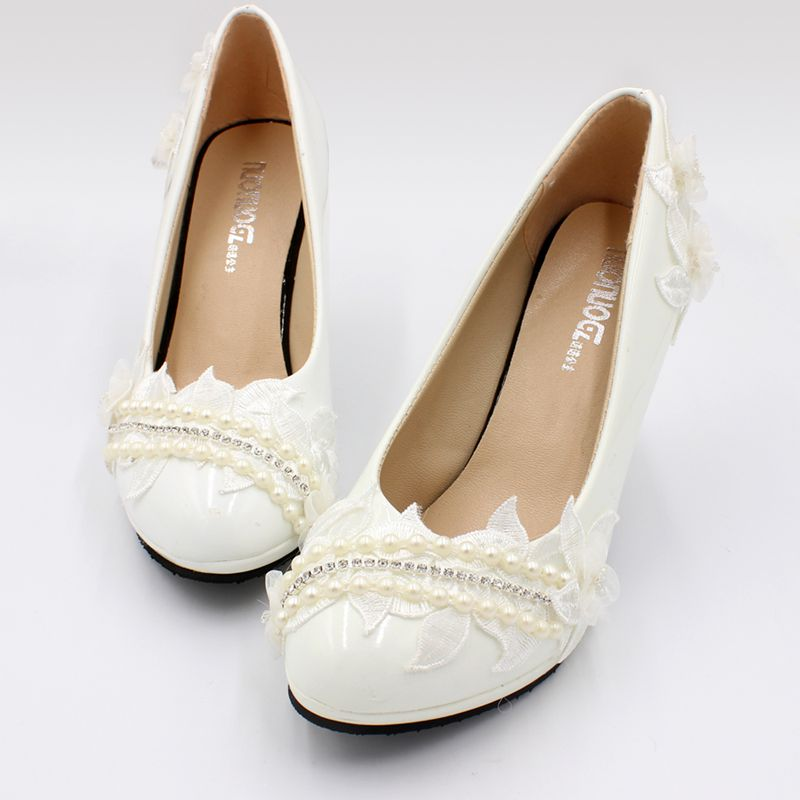 Woman Pearls Wedding Shoes Bride Lace Flower Ornament