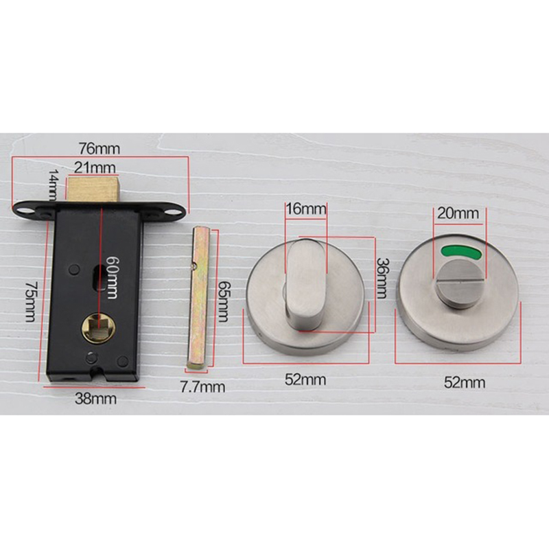 Stainless Steel Door Lock With Red Green Indicator Public Restroom Toilet Partition Thumbturn