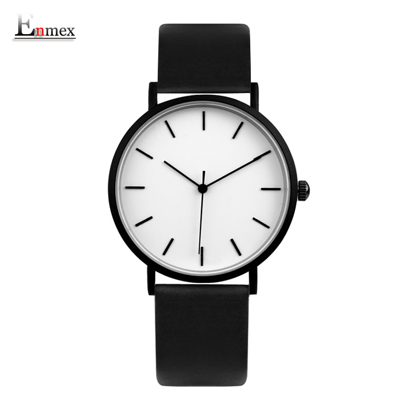2018 Enmex cool style men wristwatch Brief vogue simple stylish Black and white face leathe quartz clock fashion watch gift enmex cool colour minimalist style wristwatch creative design dot and line simple stylish with quartz fashion watch