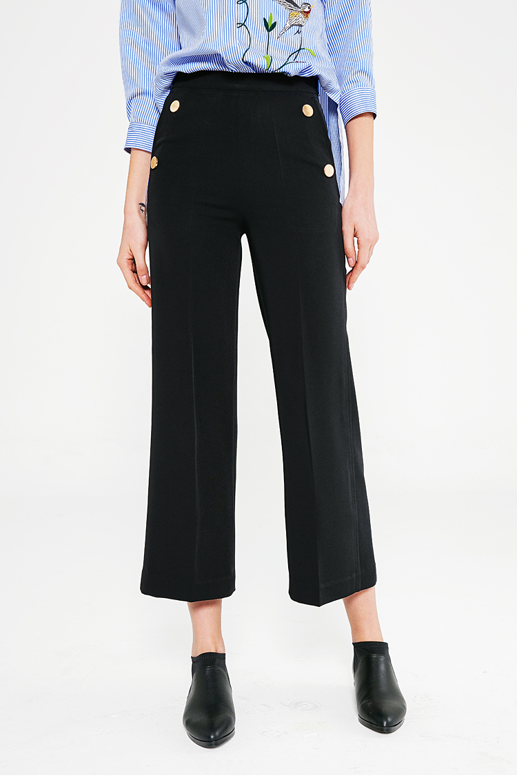 Hot Sale Spring Ankle Length Pants High Waist Loose Causal Pants Women Trousers Black Office ...