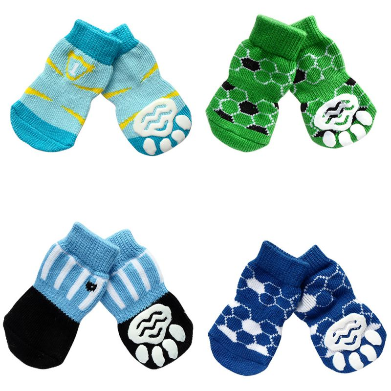 Hot Sales 4 Pcs/set Small Dog Pet Indoor Warm Socks Skid Bottom Puppy Soft Anti-slip Socks