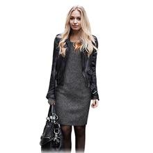 New 2016 Fashion Women Winter Dress Pure Color Soft Nap Casual Dress Long Sleeve Autumn Casual Sexy Line Vestidos XXL
