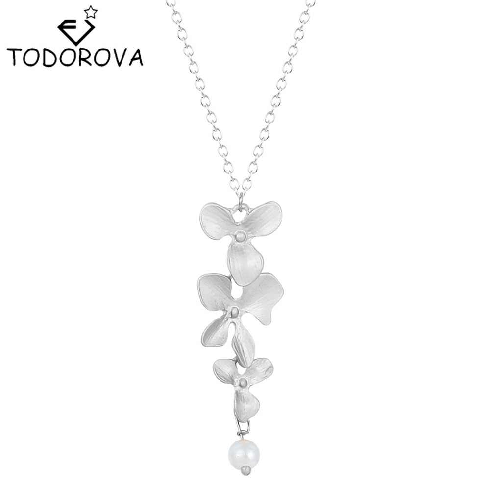 Todorova 10 sztuk kobiety kwiat orchidei wisiorek naszyjnik europa w stylu Vintage krótkie proste srebrny złoty naszyjnik gorąca sprzedaż biżuteria marki