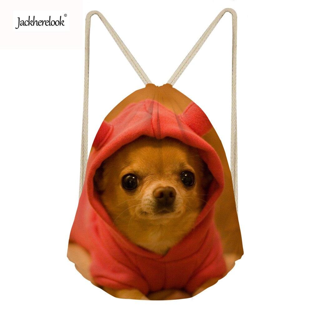 Jackherelook Drawstring Bag for Girls Travel Storage Package Cute Chihuahua Dog School Backpacks Children Birthday Party
