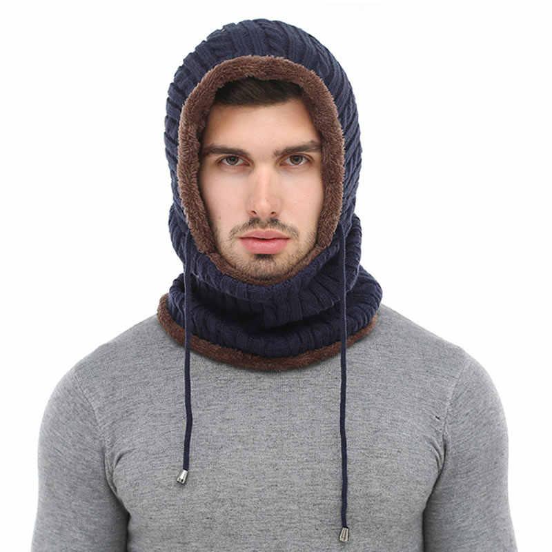 AETRUE 冬ニット帽子ビーニー男性スカーフ Skullies ビーニー冬の帽子女性男性キャップ Gorras ボンネットマスクブランド帽子 2018