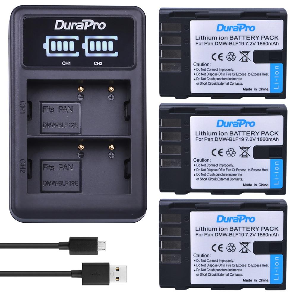 Hot Sale 3pc 1860mah Dmw Blf19 Camera Battery Led Usb Flash Circuit Charger For Panasonic Lumix Gh3 Gh4 Gh5 Dmc G9