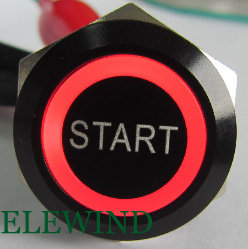 ELEWIND 22mm BLACK aluminum Ring illuminated push button with START symbol(PM221F-11E/R/12V/A with START symbol) ...