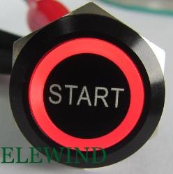 ELEWIND 22mm BLACK aluminum Ring illuminated push button with START symbol(PM221F-11E/R/12V/A with START symbol) ...