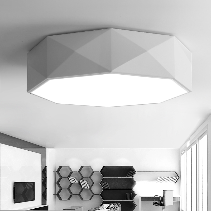 Personality Polygon Geometric Led Ceiling Light 24w Dimming Bedroom Living Room Foyer Room Ceiling Lamp Ceiling Lights & Fans