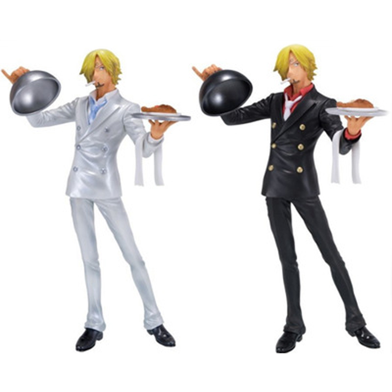 Anime One Piece Sanji Chef Cooker Black / White Suit Figure Collectible Model Toys