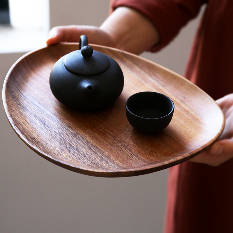 Wooden Plate Irregular Acacia Wood Plate Cake Dish Fruit Dessert Serving Platter Wood Tray Sushi Plate Small Coffee Tea Tray Wood Tableware (7)