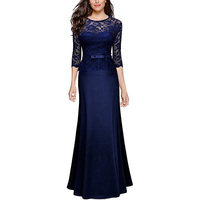 2019 New Arrival Navy Blue Mother Of Bride Dress Half Sleeves Illusion Lace Formal Party Dress Long vestido de madre de la novia