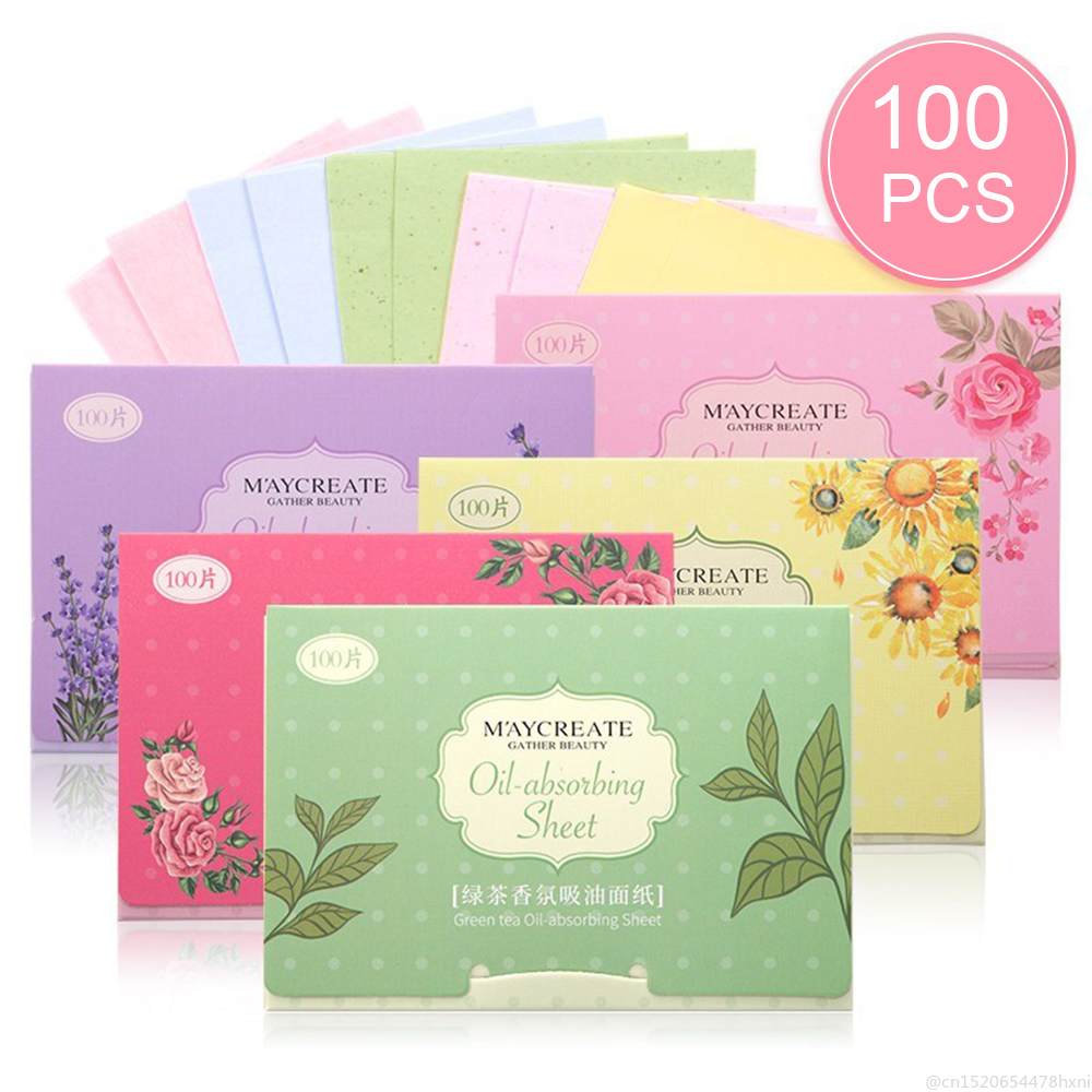 100pcs/bag Oil Blotting Paper Lavender Green Tea Chamomile  Oil Control Sheets Cleaning Face Absorbent Paper Makeup Tool TSLM1