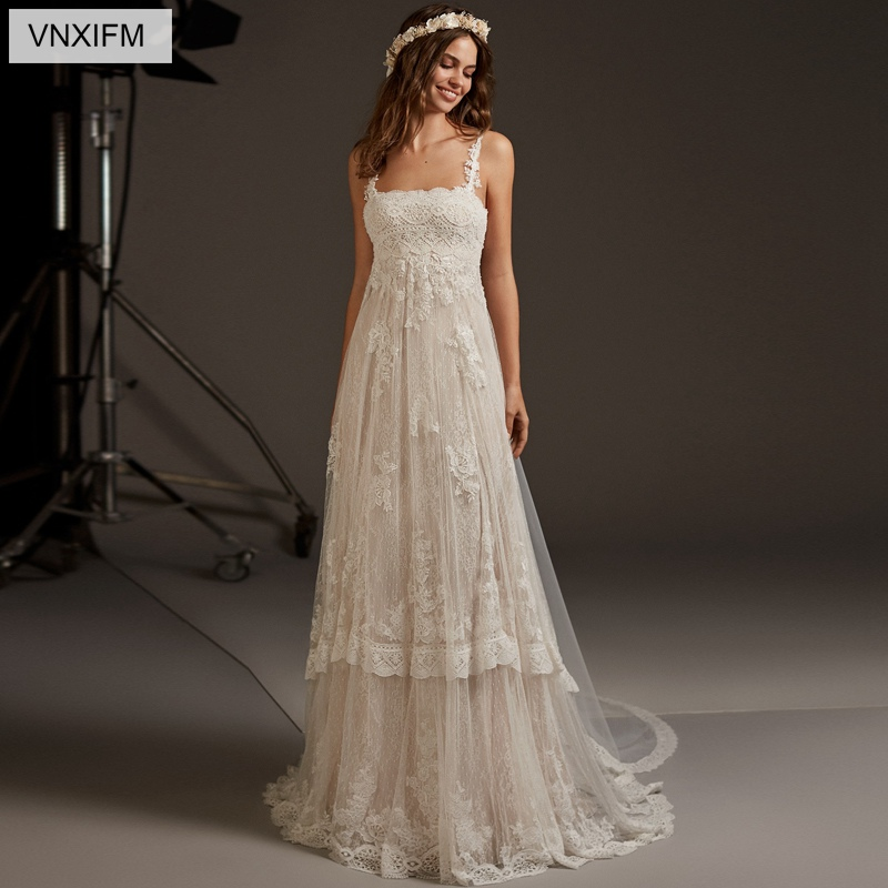 VNXIFM 2019 New Beach Wedding Dresses Boat Neck Appliques Lace Wedding Gowns Backless Bride Dress Sleeveless