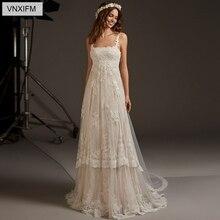VNXIFM 2019 nuevos vestidos de novia de playa apliques de cuello barco vestidos de novia con espalda descubierta vestido de novia sin mangas Boho vestido novia