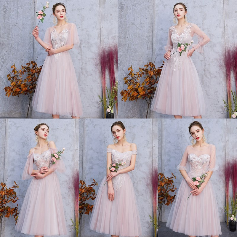 KBS093#Grey Pink Party Prom New Spring Summer Bridesmaid Dresses 2019 Mid-long Sister Group Graduation Dress Short Wholesale