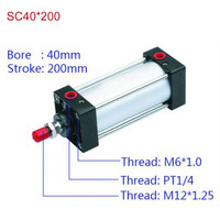 SC40 200 Free Shipping Standard Air Cylinders Valve 40mm Bore 200mm Stroke SC40 200 Single Rod