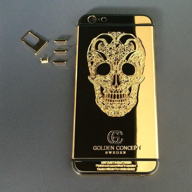 "For iPhone 6S Plus 5.5"" 24K Gold/Black Engraved SKULL Golden Concept Back Cover Rear Housing"