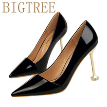 BIGTREE Brand Shoes Woman High Heels Pumps Red High Heels 9.5CM Women Shoes High Heels Wedding Shoes Pumps Black Nude Shoes Hee