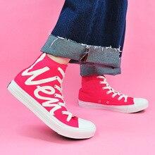 Купить с кэшбэком JINBEILEE Flat Bottom Skate Shoes Women's Shoes Breathable Comfort Travel Outdoor Walking Hand-painted Rose Red Canvas Shoes