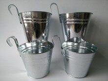 10 pièces/lot D15 * H17cm paniers suspendus jardin seau fer pots fleur métal planteur balcon décor couleur claire