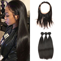 360 Lace Frontal With Bundle Pre Plucked Lace Frontal Silky Straight 8A Brazilian Virgin Hair With Frontal Closure Fast Shipping