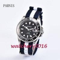 Casual 40mm Parnis black dial date adjust black ceramic bezel sapphire glass Automatic movement GMT Men's Watch