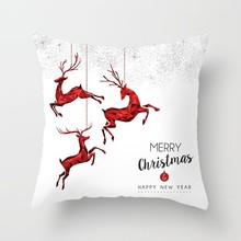 New Arrival White Chritmas Pillow Case Home Decor Modern Santa Claus Cover Square Tree Snowman Deer Pattern Cushion