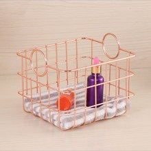 Nordic Style Wrought Iron Storage Basket Box Home Desktop Finishing Bathroom Sundries Rack