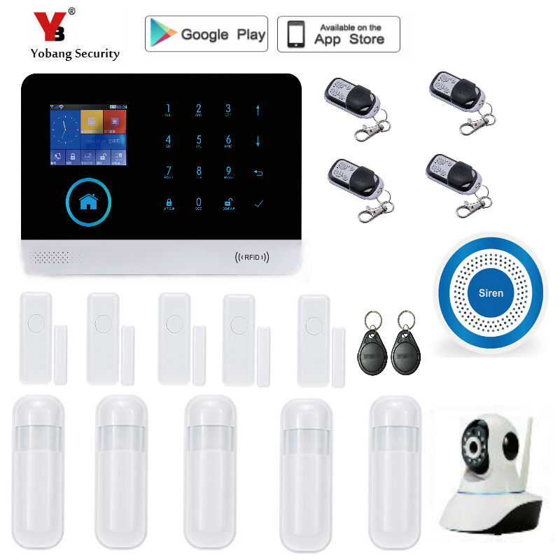 Yobang Security WiFi GSM SMS Wireless Home Security Alarm System IOS Android APP Remote Control yobang security rfid gsm gprs alarm systems outdoor solar siren wifi sms wireless alarme kits metal remote control motion alarm