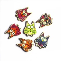 50pcs Multicolor owl Decorative Buttons Sewing Buttons Scrapbooking Wooden Buttons Crafts DIY Sewing Accessories XP0157