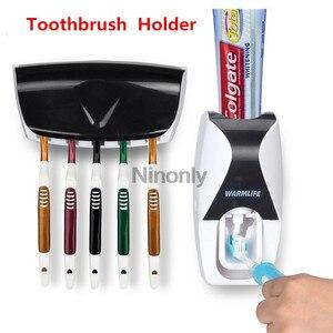Image 1 - Creativo distributore automatico di dentifricio portaspazzolino dentifricio spremiagrumi Kit supporto da parete organizzatore Set dispositivo lavaggio ad aspirazione