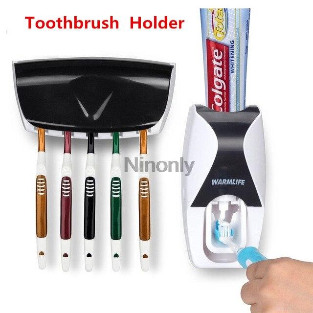 Creativo distributore automatico di dentifricio portaspazzolino dentifricio spremiagrumi Kit supporto da parete organizzatore Set dispositivo lavaggio ad aspirazione