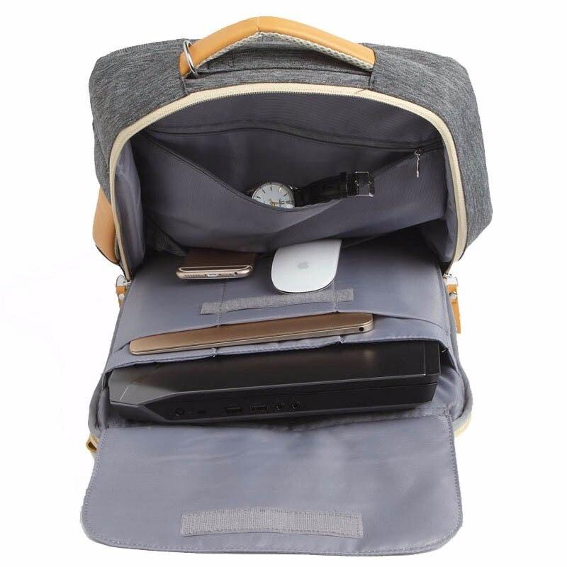 Gearmax portátil mochilas para 15,6 de 17,3 pulgadas/azul/Color gris de lona impermeable Mochila De Cuero genuino de la bolsa para Macbook portátil - 5