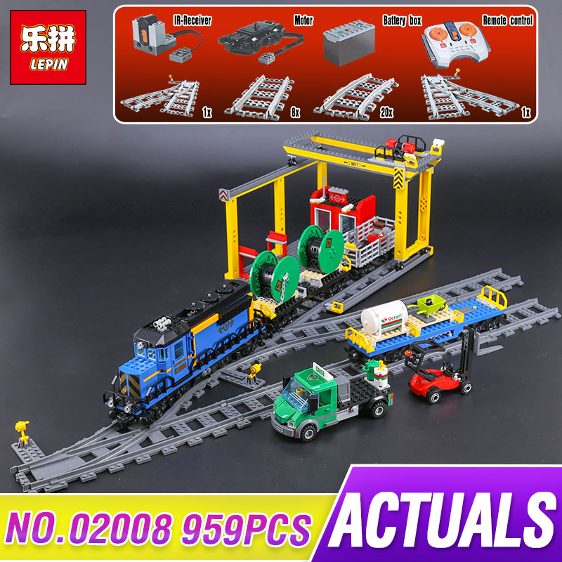 Lepin 02008 959Pcs City Series The Cargo Train Set 60052 Model Remote Control Building Blocks Bricks Toys for Children Gifts lepin 02009 city engineering remote control rc train model