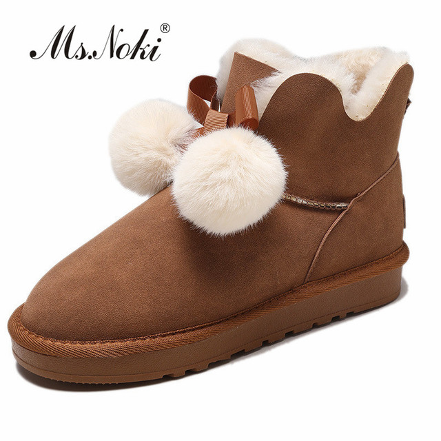 b412c59c92473 US $30.94 |snow boots women of fashion Puffer Ball solid warm plush boot  girls winter round toe slip on female ankle boots platforms flock-in Ankle  ...