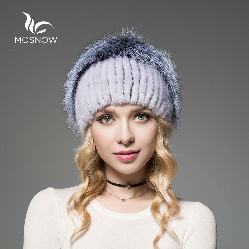 Uued talvemütsid naise ehtsast nahknahast, millel on rebane triibuline elegantne silmkoelised kvaliteetsed paksud soojad naised talvemütsi kapuuts