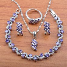 925 Silver Jewelry Set Purple Crystal Wedding Party Gift Jewelry For Women Costume CZ Earrings Necklace Rings Bracelet JS0545(China)