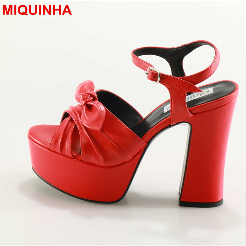 MIQUINHA Luxury Brand Platform Women Sandals Peep Toe Butterfly Knot Super High Heel Shoes Many Color Party Wedding Runway Shoes party runway wedding dress shoes women pointed toe sandals sexy high thin heel lady shoes floral decor butterfly knot pumps