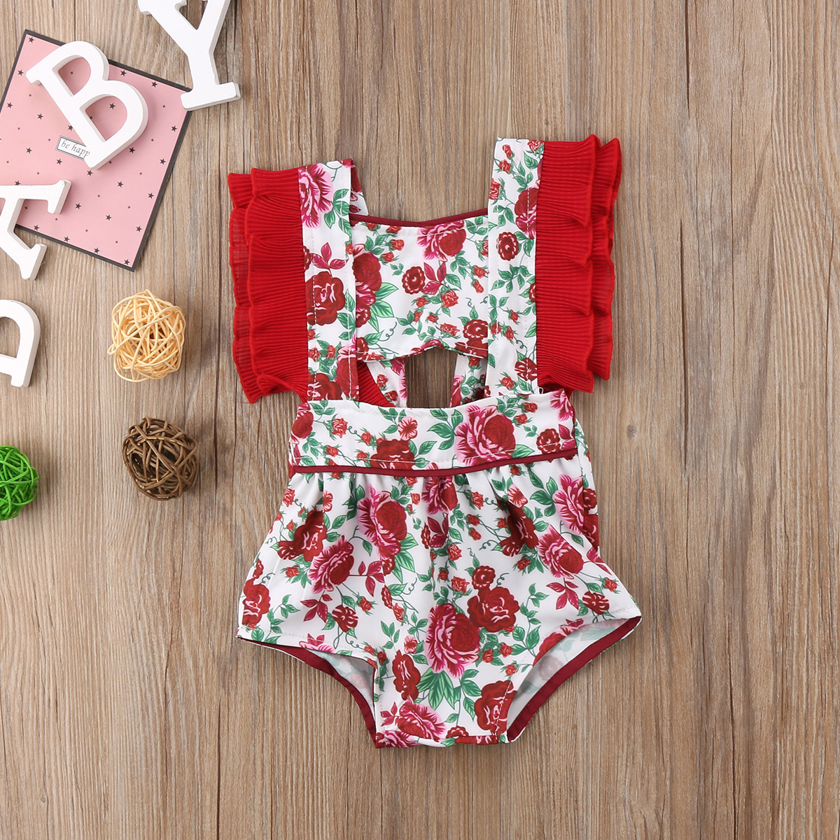 Newborn Baby Girl Floral Romper Jumpsuit Bandage Clothes Outfit Summer Flower Rompers For Girls