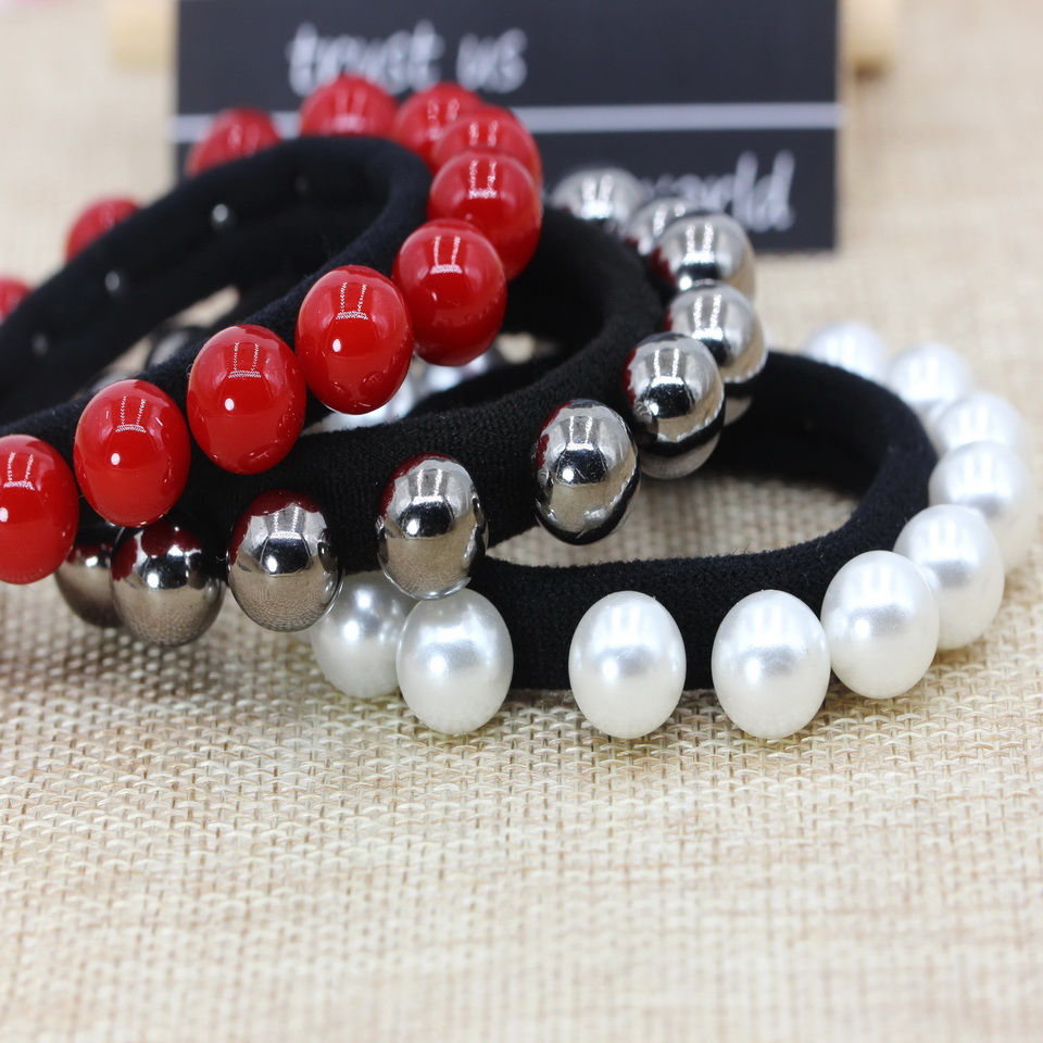 isnice Imitation pearls hair accessories wholesale hair bands high quality hair ornaments red ball black   headwear   for women