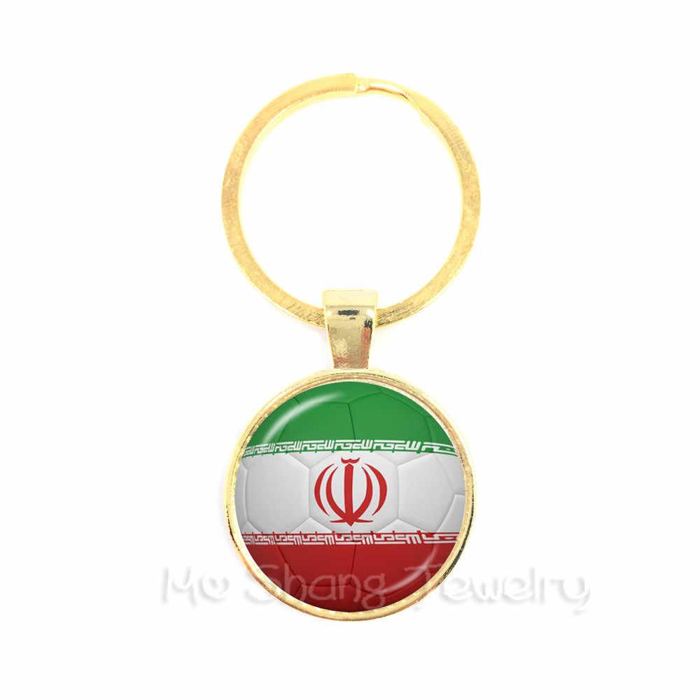 Irán, España, Uruguay, Tailandia, LLavero de copa de fútbol de Arabia Saudita con colgante de cúpula de cristal para llavero de copa de fútbol 2018