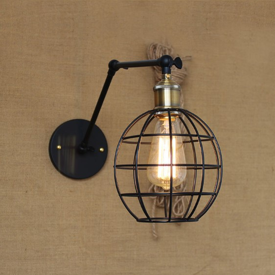 ФОТО American RH Loft Industrial Lighting Vintage Wall Lamp For Dinning Room Iron Wount Retro Wall Sconce Apliques Pared
