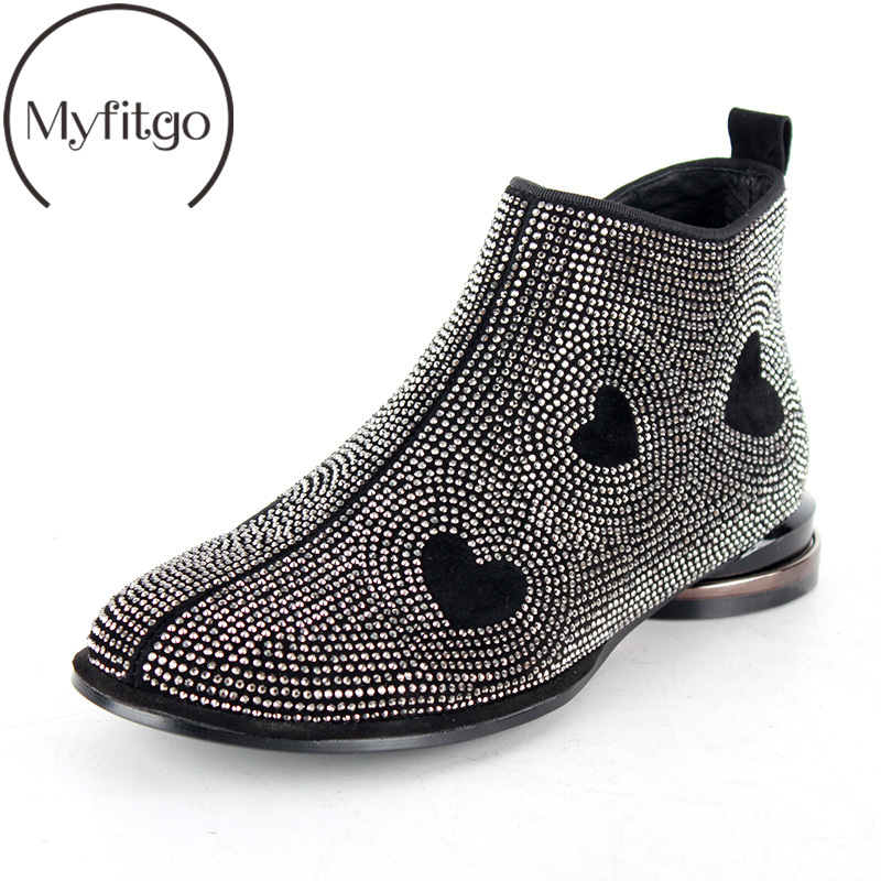 Myfitgo Spring Boots Women Crystal Heart Shap Ankle Boots Black Shoes Female Designers Blingbling Rhinestone Ladies Fashion BootMyfitgo Spring Boots Women Crystal Heart Shap Ankle Boots Black Shoes Female Designers Blingbling Rhinestone Ladies Fashion Boot