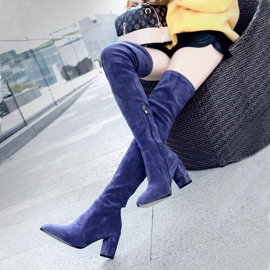 2017 Women Shoes Suede High Quality Brand Thigh High Boots Pointed Toe Over The Knee High Heels Boots Genuine Leather Long Boots women s winter platform flats over the knee boots brand designer genuine suede leather patchwork elastic long boots shoes women