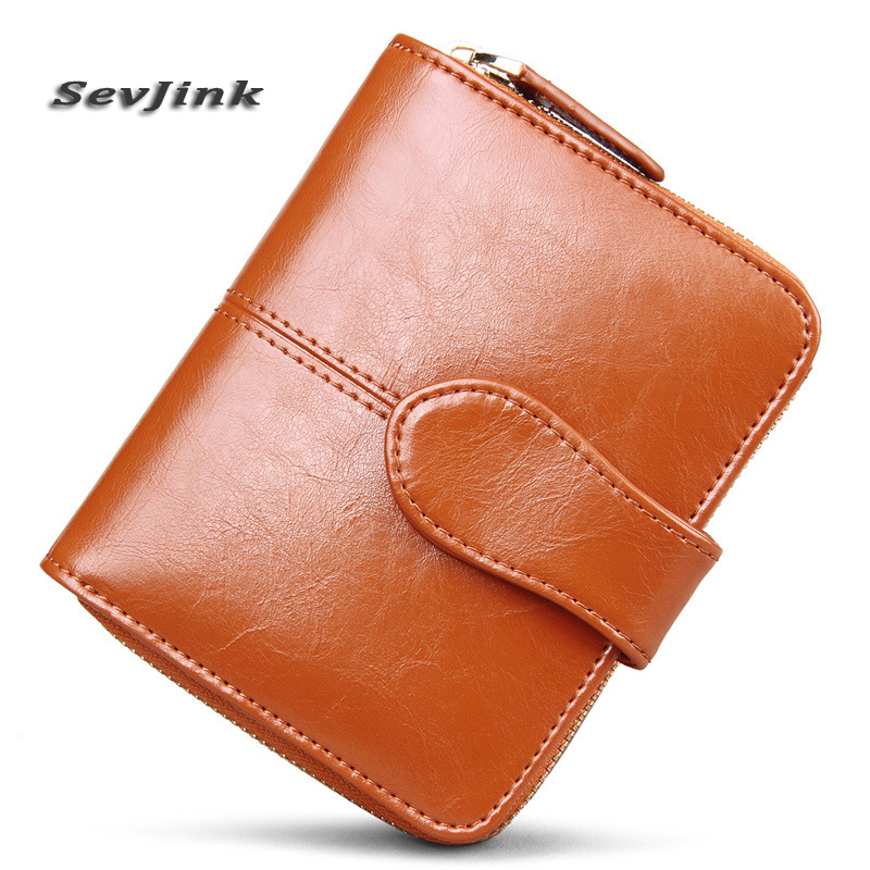 Genuine Real Leather wallets Women Short Wallets Small Wallet Zipper Coin Pocket Credit Card Wallet Female Purses Money Clip